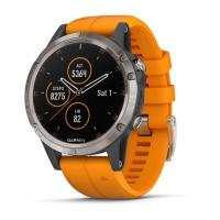 GARMIN FENIX 5 Plus Sapphire Titanium, Orange Band