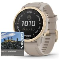 GARMIN FENIX 6S PRO Solar, LightGold/Sand Band (MAP/Music)
