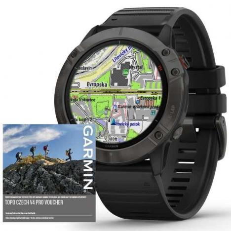 GARMIN FENIX 6X PRO Solar, TitaniumGrayDLC/Black Band (MAP/Music)