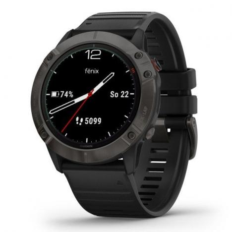 GARMIN FENIX 6X Sapphire, GrayDLC/Black Band (MAP/Music)